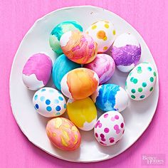 Hop to it! These pretty Easter egg dyeing techniques are perfect for the kid in you. These dyeing and decorating ideas, including pretty ideas for coloring Easter eggs and easy embellishments you can create with crafts supplies, ensure you'll have a happy Easter.