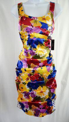 Bisou Bisou Size 8 NWT Multi-Color Knee Length Sheath Sundress - Resale Designers