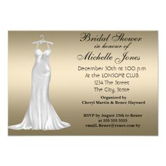 Bridal Shower Cream Announcements