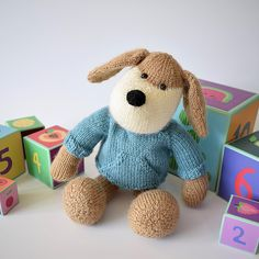 Riley the Puppy knitting project by Amanda Berry. Find this toy pattern and share your own projects at LoveKnitting. Knitting Yarn, Baby Knitting, Knitting Patterns, Knitting Needles, Owl Hat, Toy Puppies, Tiny Dolls, Baby Owls, Diy Toys