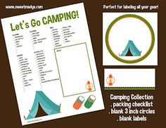 free printables to label camp gear (but also good for a camping party!)