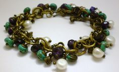 Gemstone and Freshwater Pearls Bracelet Genuine by KirasCreations, $30.00