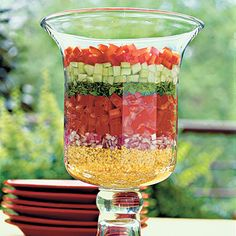Layered Lebanese Salad    Crisp veggies display their colors in this Middle Eastern salad. The recipe is the ultimate make-ahead choice: It must be refrigerated for 24 hours to allow the bulgur wheat on the bottom layer to absorb the dressing.