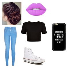 """""""Untitled #36"""" by claudoral ❤ liked on Polyvore featuring beauty, Lime Crime, New Look, Ted Baker, Converse and Casetify"""
