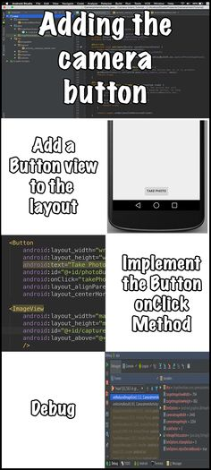Add camera button Part 2 explains how to replace the standard hello world text view and replaces it with a clickable button view. Android Camera, Photo Layouts, App Development, Ads, Buttons, Plugs