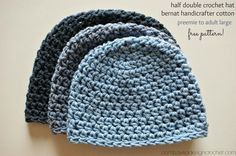 Half Double Crochet Hat Pattern, Free. Pattern a lady used for Chemo hats and she used I love this yarn. Chain up 2 for hdc. Join with slip stitch and ch 2 but do not count it, will go over it and will be hidden but will make a straight seam.