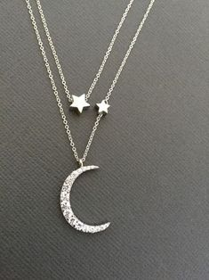 Crescent moon necklace silver - Silver Celestial Jewelry Constellation Necklace , Vermeil Mother daughter, Love You To The Moon, Star and Crescent Moon Necklace, – Crescent moon necklace silver Star Jewelry, I Love Jewelry, Women Jewelry, Jewelry Making, Chain Jewelry, Yoga Jewelry, Jewelry Holder, Beach Jewelry, Jewelry Box