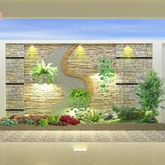 شغل النحت الجداري بمختلف الاشكال Dream House Interior, Luxury Homes Dream Houses, Interior Garden, Fence Wall Design, Indoor Wall Fountains, Cladding Design, House Outside Design, Staircase Wall Decor, Double Storey House