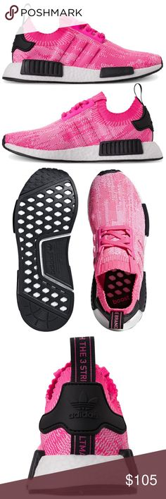 0a2e411524452 adidas Solar Pink and Black NMD Primeknit Boost Authentic Adidas SOLAR PINK  NMD Boost Primeknit Sneakers   Snug fit   Stretch mesh upper   Webbed rubber  ...