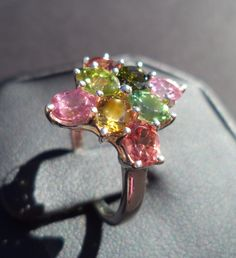 Vintage Size 7 Solid .925 SS Gen. Tourmaline 3.44 Carat TW Ring October Birthstone FREE SHIP & GIN! October Birth Stone, Hat Pins, Gin, Birthstones, Cuff Bracelets, Jewels, Places, House, Free