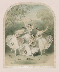 """""""Carlotta Grisi, Maria Taglioni, Lucile Grahn, and Fanny Cerrito in 'Pas de Quatre'"""", 1845, lithography"""