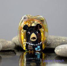 °° BEAR N BEE °° lampwork focal bead by jasmin french