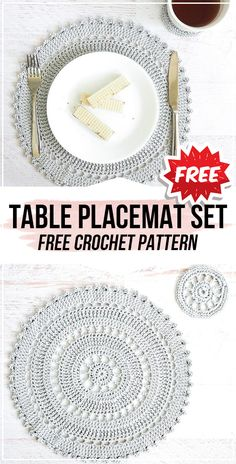 crochet Table Placemat Set free pattern - easy crochet placemat pattern for beginners Crochet Placemat Patterns, Crochet Table Runner Pattern, Crochet Mandala Pattern, Crochet Dishcloths, Crochet Doilies, Free Doily Patterns, Doily Rug, Dress Patterns, Thread Crochet