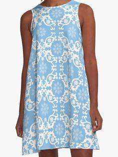 Light Blue White Lace Celtic Flower | A-Line Dress White Lace, Blue And White, Celtic, Dress Skirt, Light Blue, Flower, Skirts, Color, Dresses