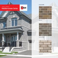 Brampton Brick's Mediterranean Series combines blends of tranquil blues and golds into a sunset inspired line of clay bricks for any home or business Bricks, Blues, Vibrant, Multi Story Building, New Homes, Palette, Clay, Exterior, Colours