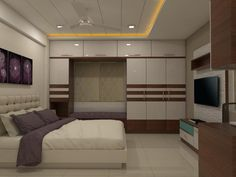 Aparna grande by shree lalitha consultants Indian Bedroom Design, Simple Bedroom Design, Wardrobe Design Bedroom, Bedroom Bed Design, Bedroom Furniture Design, Fancy Bedroom, Ceiling Design Living Room, Bedroom False Ceiling Design, Kitchen Room Design