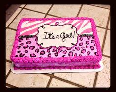 Perfect Zebra And Cheetah Print Baby Shower Cake :)