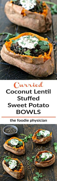 Curried Coconut Lentil Stuffed Sweet Potato Bowls | @foodiephysician