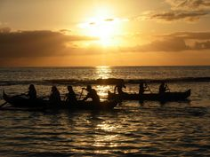 Beautiful Hawaiian sunset behind the Paddlers. My sister loves paddling.