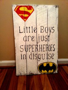 Superhero Reclaimed Wood Sign / Little Boys Are Just by DZDecor