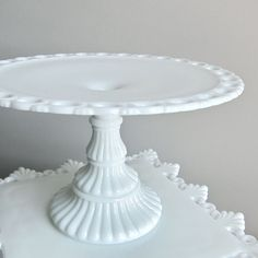 Imperial Milk Glass Pedestal Cake Plate, circa 1960