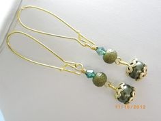 Green olive pearls beads crystal gold handmade earrings, free shipping $10.00