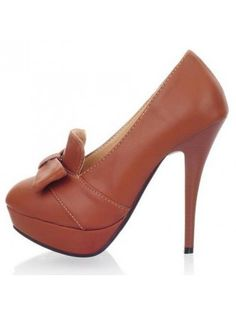 Slim Heel Brown Shoes with Bow