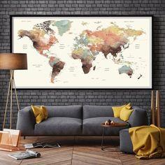 World Map Wall Art, world map push pin, Large watercolor wall art worldmap poster wall decor art print, Living room and office decor - Wandkunst Large World Map Poster, World Map Wall Art, Wall Maps, Art World, World Map Decor, World Map Bedroom, World Map Design, Watercolor World Map, Watercolor Canvas