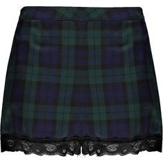 Boohoo Evelyn Tartan Lace Trim Shorts ($40) ❤ liked on Polyvore featuring shorts, skirts, bottoms and faldas
