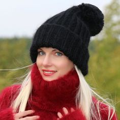 100% Hand knitted mohair hat in black, one size
