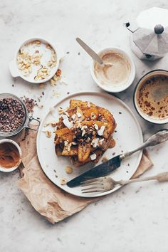 french toast with caramelized banana and hazelnut butter (v)