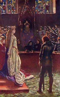 Sir Lanval's Lady Appeals to the Judges, illustration from 'Romance and Legend of Chivalry' by A. R. Hope Moncrieff by Byam Shaw