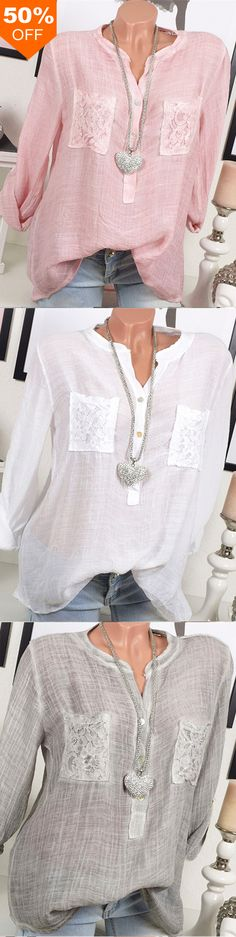 50%OFF&Free shipping. Women Casual Long Sleeve V-Neck Lace Patchwork Blouse. Shop this look right now~