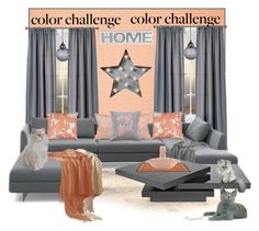 """""""Grey & Peach for the Home"""" by ragnh-mjos ❤ liked on Polyvore featuring interior, interiors, interior design, home, home decor, interior decorating, Room Essentials, Dot & Bo, Studio Lisa Bengtsson and Flamant"""