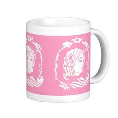 Pink and White Cameo Mug Drinkware; Abigail Davidson Art; ArtisanAbigail at Zazzle