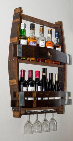 Wine Glass Holder, Wine Bottle Holders, Box Wine, Bottle Rack, Wine Bottles, Tonneau Bar, Barris, Barrel Projects, Barrel Furniture