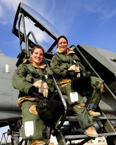 Pilot Flight Lieutenant Juliette Fleming (left) and Navigator Squadron Leader Nikki Thomas (right), with 31 Squadron from Royal Air Force Marham