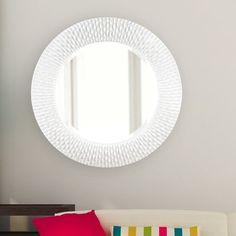 World Menagerie Hengelo Wall Mirror Finish: White Rectangular Bathroom Mirror, Circular Mirror, Metal Mirror, Round Wall Mirror, Wall Mounted Mirror, Floor Mirror, Round Mirrors, Mosaic Wall, Mosaic Glass