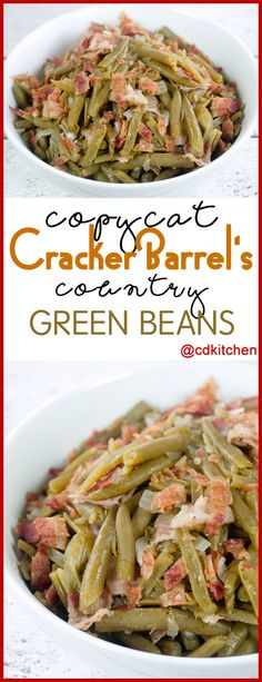 Copycat Cracker Barrel Country Green Beans - You won't believe how easy it is to copy this popular side dish from Cracker Barrel at home. The recipe is made with bacon, green beans, onion, and seasonings. - Made with bacon, green beans, onion, sugar, salt, black pepper | CDKitchen.com