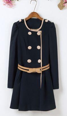 Belt Embellished Pleated Top Slimming Overcoat     dresslily.com