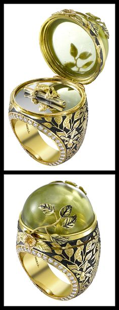 Theo Fennell Green Beryl Rainforest Opening Ring. Via Diamonds in the Library.