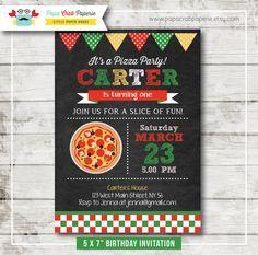 Pizza Chalkboard Birthday Party Invitation / DIY Party Printables / First Brithday / Free Thank You Card (CBI47)