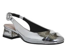 Buy Silver Patent Office Meow Toe Cap Slingbacks from OFFICE.co.uk. Silver Loafers, Walk A Mile, Leather Socks, Patent Office, Block Heels, Slingbacks, Footwear, Cap, My Style