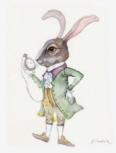 Biliana Savova | WATERCOLOR | Alice in Wonderland | White Rabbit and Watch