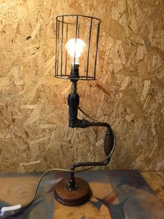 Industrial style lamp, unique one off hand built and fully tested lamp made from carpenters drill brace, wired and tested by an electrician. by SkipRatCreative on Etsy https://www.etsy.com/uk/listing/485243524/industrial-style-lamp-unique-one-off