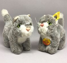Steiff #Kitty Cat x 2 Plush Standing 10cm 4in ID Buttons one Flag Chest Tag 1970s #Steiff AllOccasion