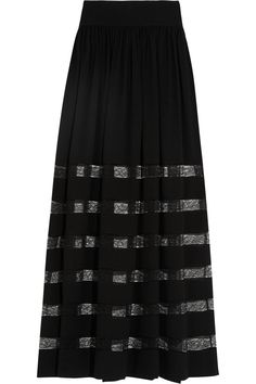 Michael Kors Collection | Lace-paneled silk-georgette maxi skirt | NET-A-PORTER.COM