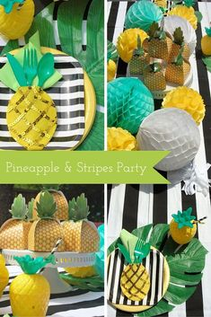"Summer is in the air and on everyone's mind, so @ciaobella1 decided to throw a ""summer kick off"" dinner party that included two of her favorite things: pineapples and black & white stripes! See how this summer party idea came together."