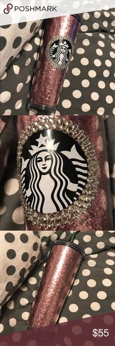 Starbucks tumbler Brand new handmade starbucks cup! Blush pink glitter for the entire cup with hand placed swarovski crystals around the logo! beautiful cup and one of a kind! you will not see anyone with cup as it has been handmade by me❤️ no trades! Cup purchased for $19.95 plus tax and has over $100 in crystals on it! Starbucks Accessories