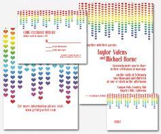 rainbow wedding invitations  google search  invitation ideas, invitation samples